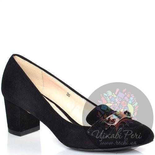 Лоферы Laura Mannini замшевые черные на среднем каблуке, фото