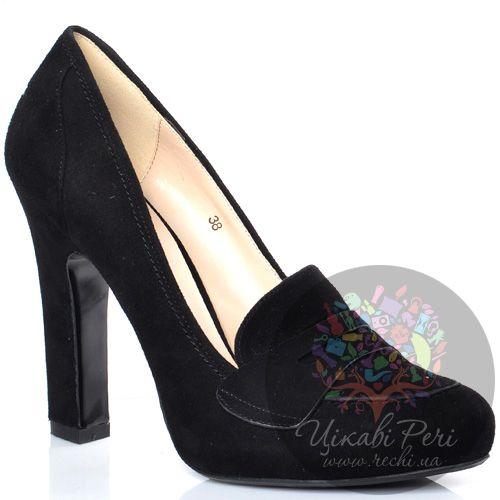 Лоферы Laura Mannini замшевые черные на высоком каблуке-столбике, фото