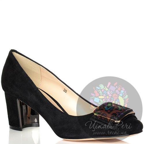 Туфли Laura Mannini замшевые черные на лунообразном невысоком каблуке, фото