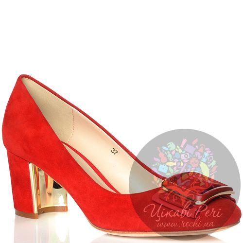 Туфли Laura Mannini замшевые красные на лунообразном невысоком каблуке, фото