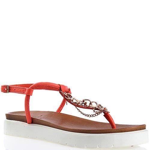 Сандалии Ovye красного цвета с декоративными цепочками, фото
