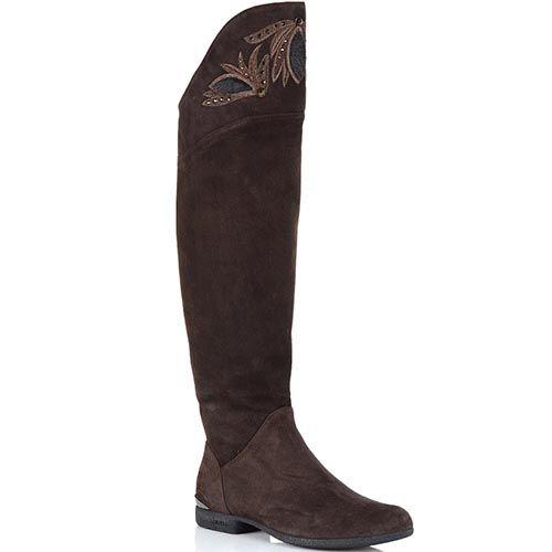 Высокие сапоги Loriblu из коричневой замши с вышивкой, фото
