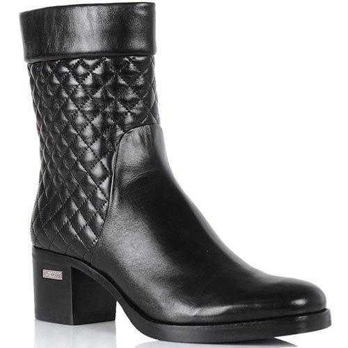 Женские ботинки Loriblu на устойчивом каблуке из сочетания стеганой и гладкой кожи, фото