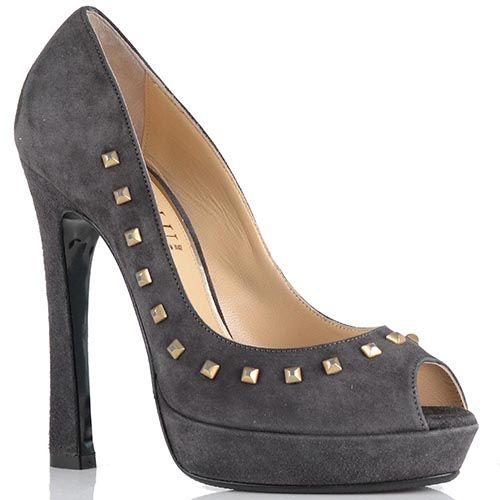 Замшевые туфли Loriblu серого цвета с заклепками, фото