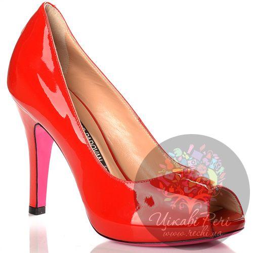 Туфли Luciano Padovan красные лаковые кожаные с открытым носком, фото