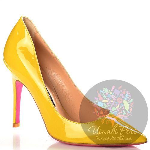 Туфли-лодочки Luciano Padovan желтые кожаные, фото