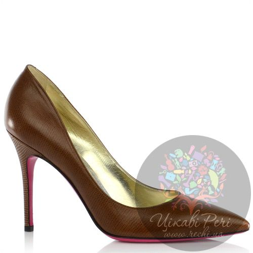 Туфли-лодочки Luciano Padovan из светло-коричневой кожи с модным змеиным тиснением, фото