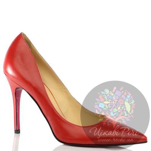 Туфли-лодочки Luciano Padovan из кожи классического красного цвета на шпильке, фото
