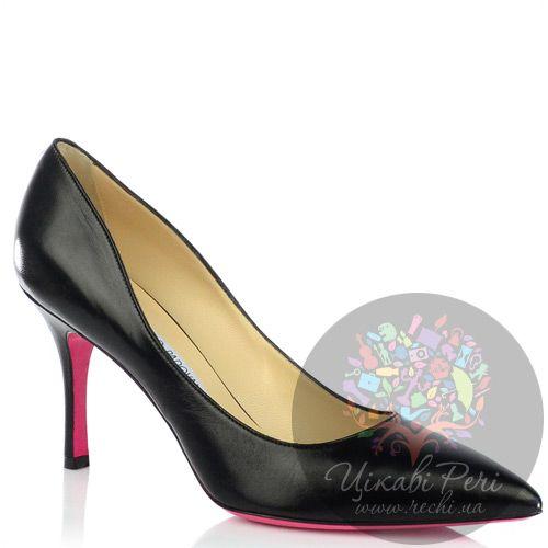 Туфли-лодочки Luciano Padovan из черной кожи на среднем каблуке с яркой подошвой, фото