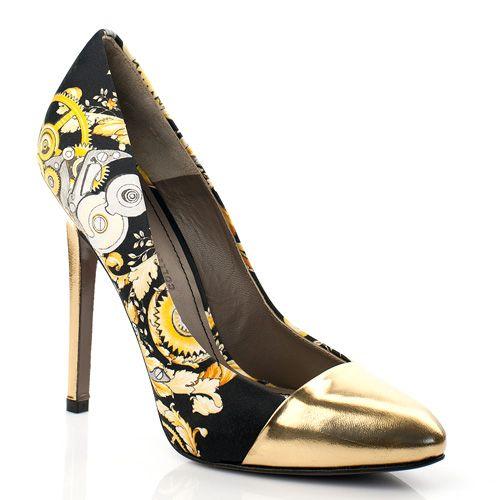 Туфли с принтом и золотистым носком Versace Collection, фото
