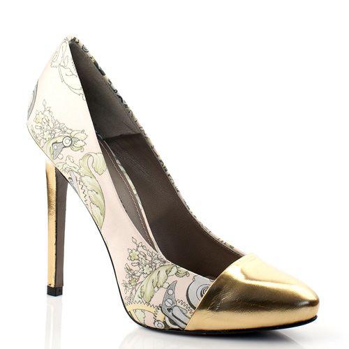 Нежные летние туфли с принтом и золотистым носком Versace Collection, фото