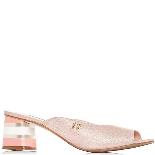 Розовые мюли Marino Fabiani с золотистым блеском, фото
