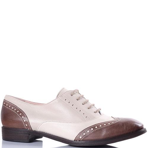 Кожаные броги Tine's бежевые с коричневым носочком, фото