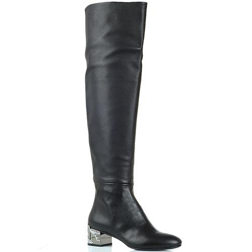 Кожаные сапоги-ботфорты на низком каблуке Ginmarco Lorenzi черного цвета, фото