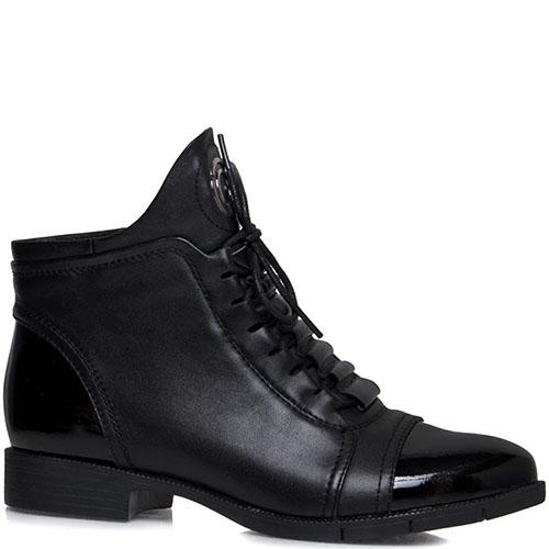 Кожаные ботинки Prego черного цвета с лаковыми носочком и пяточкой, фото