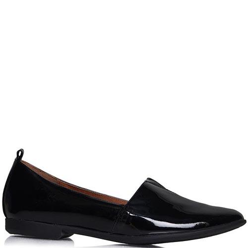 Туфли Prego из лаковой кожи черного цвета на низком ходу, фото