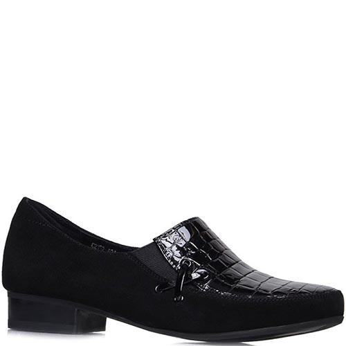 Туфли Prego из натуральной замши черного цвета с фактурной вставкой, фото