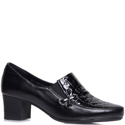 Туфли Prego из кожи черного цвета со вставкой кроко, фото