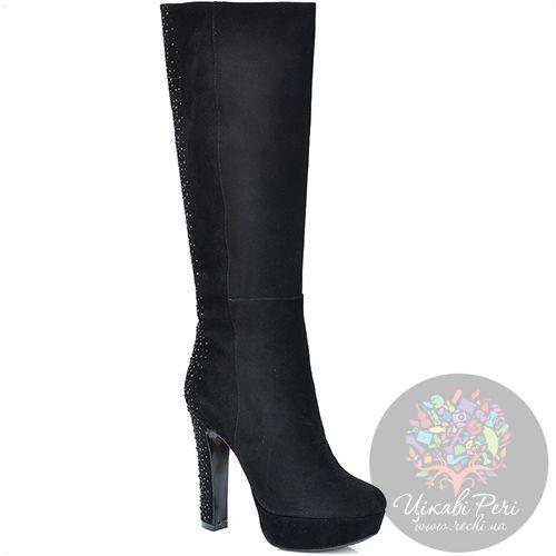 Сапоги Laura Mannini черные замшевые на каблуке-столбике в стразах, фото
