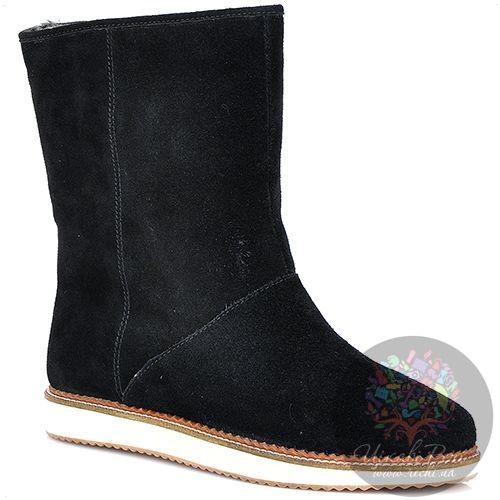 Ботинки Laura Mannini черные замшевые с мехом на плоской подошве, фото