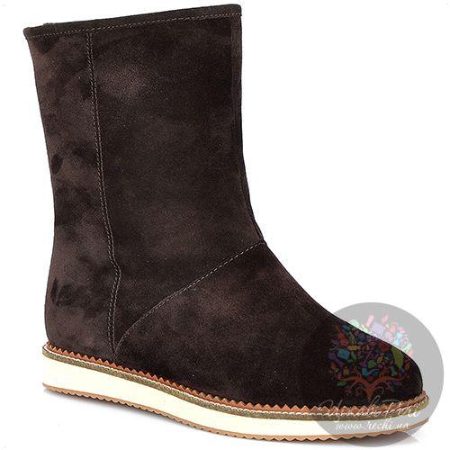 Ботинки Laura Mannini коричневые замшевые с мехом на плоской подошве, фото