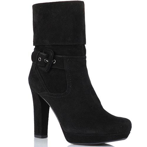 Высокие ботинки Laura Mannini из натуральной замши черного цвета, фото