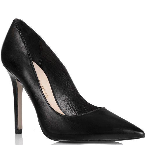 Туфли-лодочки Cafe Noir Linea Glamour на шпильке черные кожаные, фото