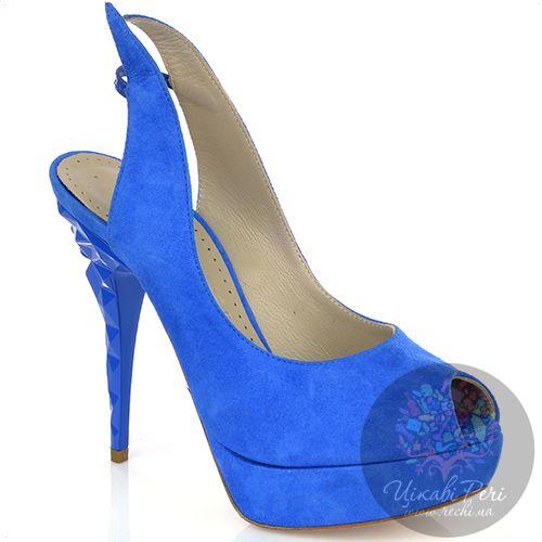 Босоножки Marc Ellis из ярко-синей замши на оригинальной фигурной шпильке, фото