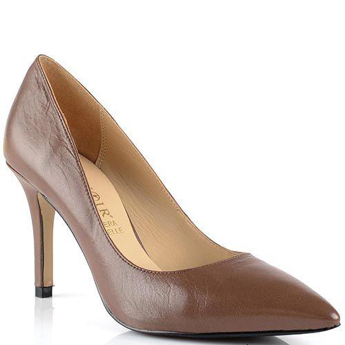 Туфли-лодочки Cafe Noir Linea Glamour кожаные светло-коричневые на невысокой шпильке, фото