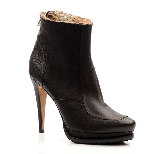 Женские кожаные ботинки Mugnai коричневые, фото