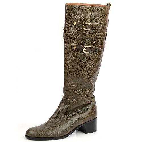 Сапоги на устойчивом каблуке Mugnai коричневые, фото