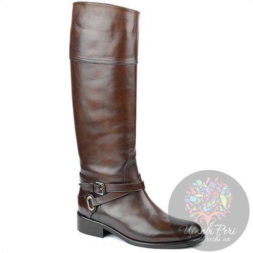 Сапоги Eclat осенние кожаные коричневые с голенищем трубой, фото