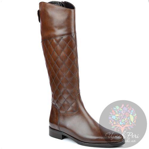 Сапоги Eclat на молнии осенние кожаные коричневые стеганые на низком ходу, фото