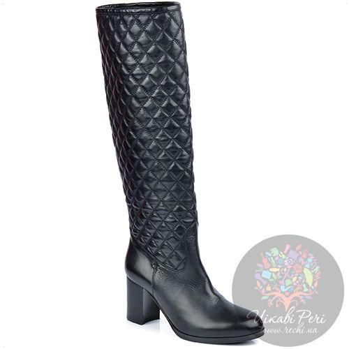 Сапоги Eclat осенние кожаные черные стеганые на устойчивом каблуке, фото
