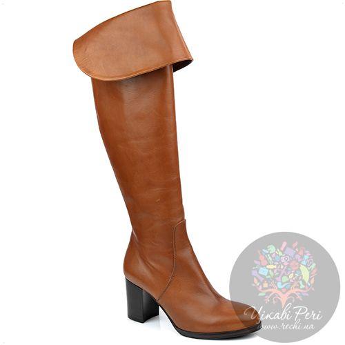 Ботфорты Eclat осенние кожаные рыжие на устойчивом среднем каблуке, фото