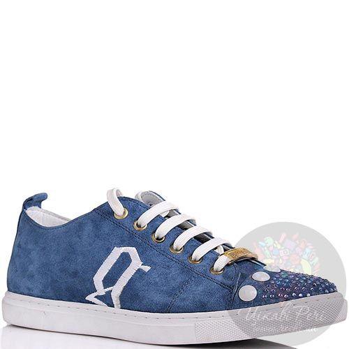 Кеды Galliano синего цвета замшевые со стразами на носочке, фото