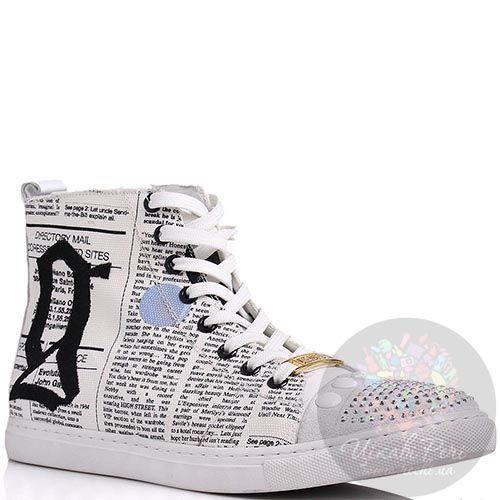 Кеды Galliano высокие с принтом под газету и стразами на носочке, фото