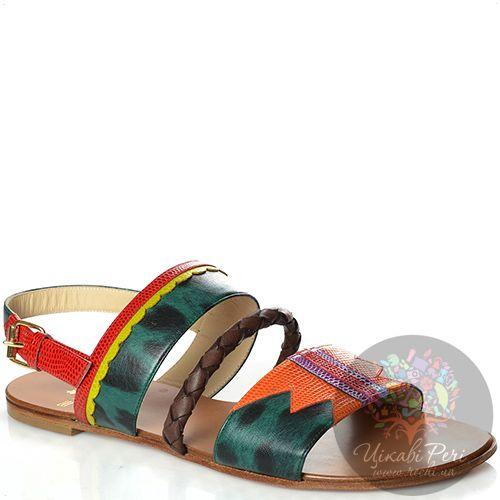 Сандалии Etro кожаные с красивыми разноцветными принтами, фото