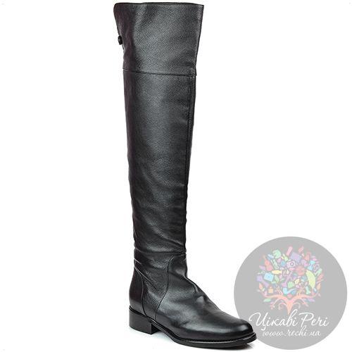 Ботфорты Eclat осенние кожаные черные на низком каблуке, фото