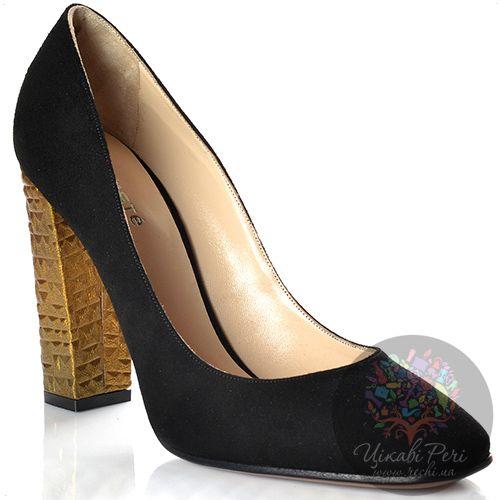 Туфли Kalliste замшевые черные на золоченом рифленом каблуке-столбике, фото