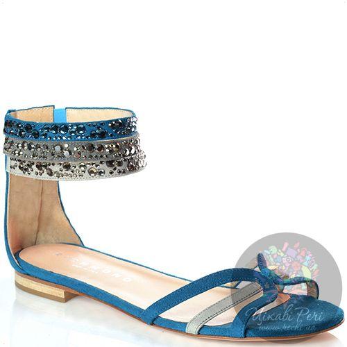 Сандалии Richmond замшевые голубые со стразами, фото