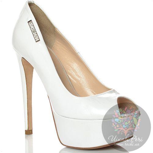 Туфли Richmond на шпильке и скрытой платформе кожаные белые с открытым носком, фото