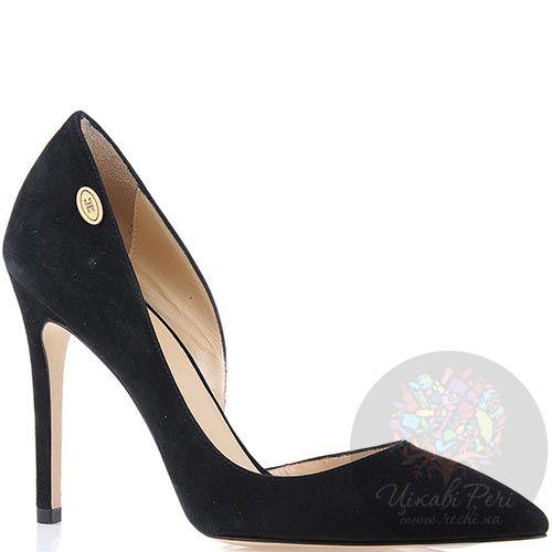 Туфли-лодочки Elisabetta Franchi черного цвета замшевые, фото