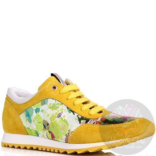 Кроссовки Tosca Blu замшевые желтые с цветной вставкой, фото