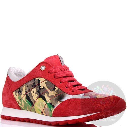 Кроссовки Tosca Blu замшевые красные с камуфляжной вставкой, фото