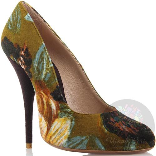 Вельветовые туфли Giordano Torresi оливковые с цветочным принтом, фото