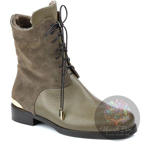 Ботинки Norma J Baker на молнии зимние серо-бежевые на низком каблуке, фото