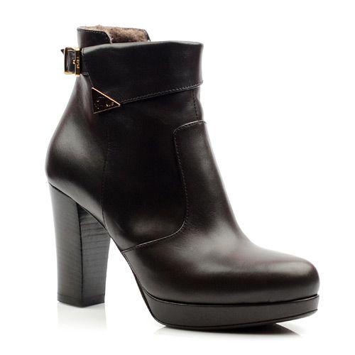 Женские кожаные ботинки зимнее Norma J Baker коричневые, фото