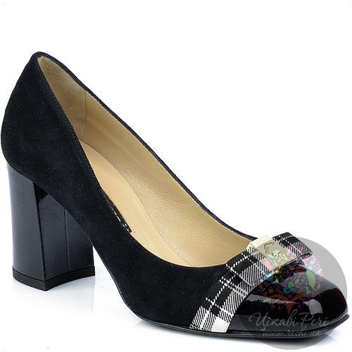Туфли Norma J Baker черные из замши и кожи с пикантным клетчатым бантом, фото