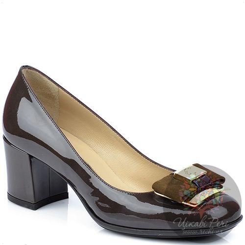 Туфли Norma J Baker из лаковой кожи цвета какао с замшевым бантом, фото